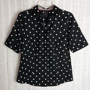 Talbots Black White Short Sleeve Blouse Size 4